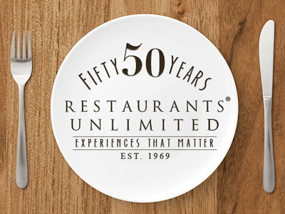 50th anniversary logo on a plate